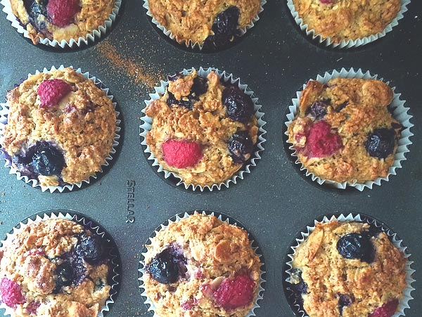 Blueberry and raspberry almond muffins